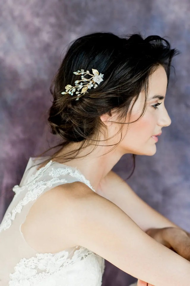 gold leaf floral bridal hair vine, silver ivory flower hair comb, crystal pearl wedding hair piece, rhinestone hair accessory, analena
