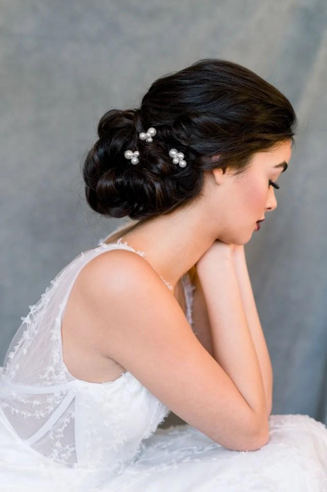 ivory pearl hair pins, pearl cluster hairpins, bridal hair accessory, updo hair piece, wedding headpiece, blush pearl hair pin set, margot