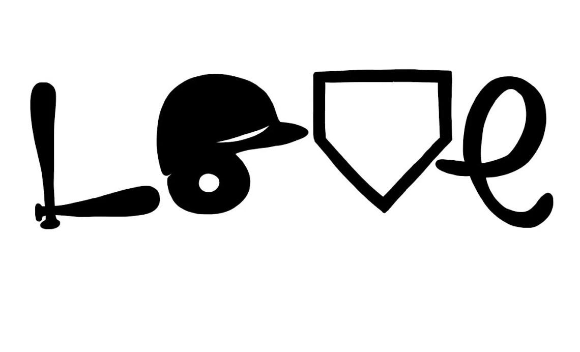 Download Baseball Love Softball Love Helmet Bat Home Plate SVG | Etsy