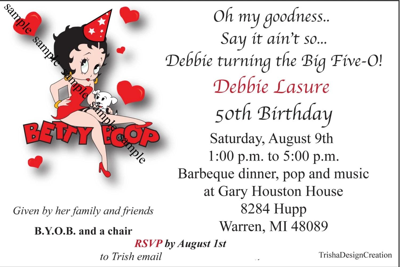 Betty Boob Theme 50th Birthday Printable