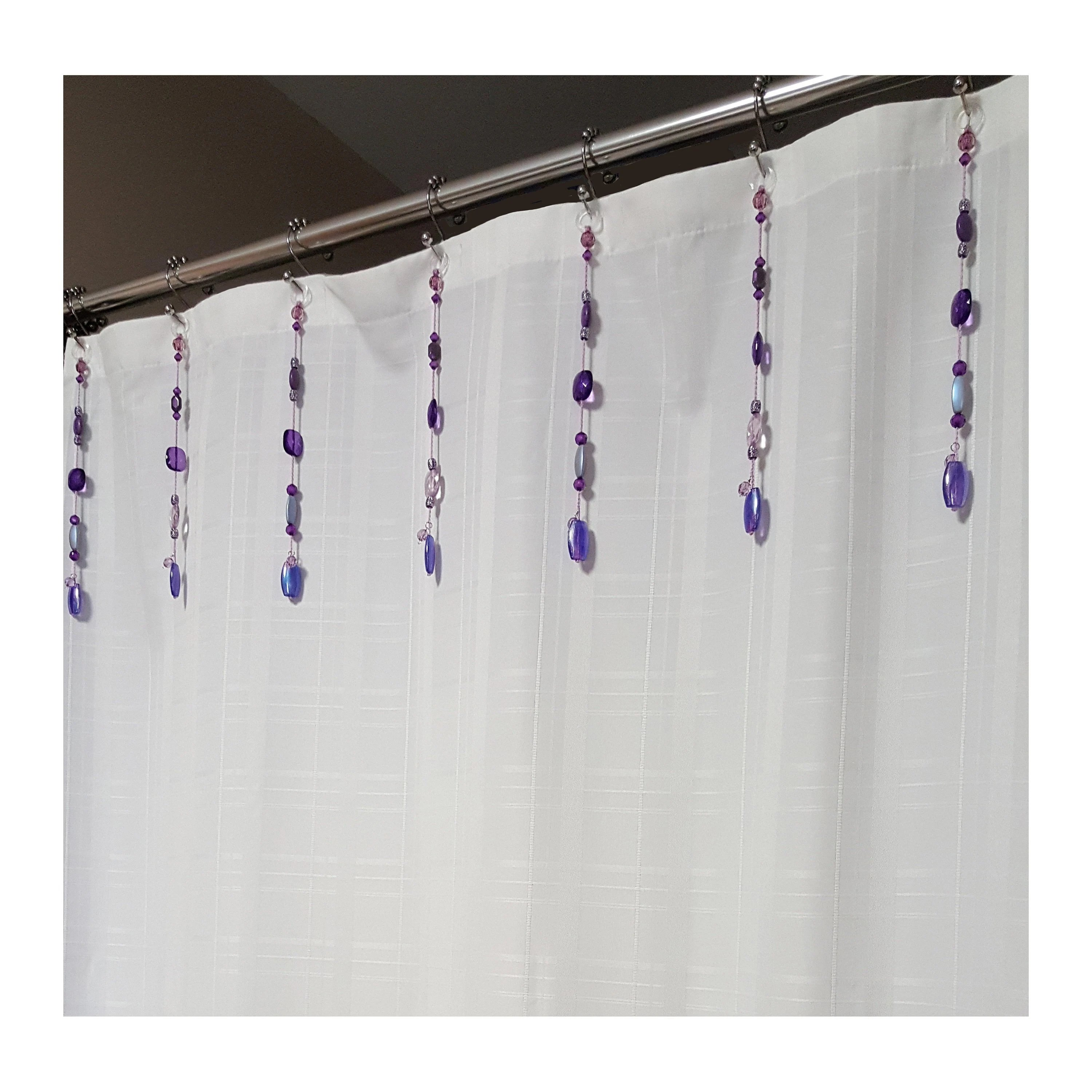 new shower curtain bling hook ring accessory bead strands sent of 12 10 chunky beads purple and silver color