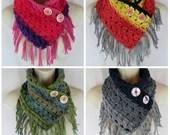 Simply Elegant crochet neck warmer fringe scarf pattern PDF instant download present gift craft shows MI designer