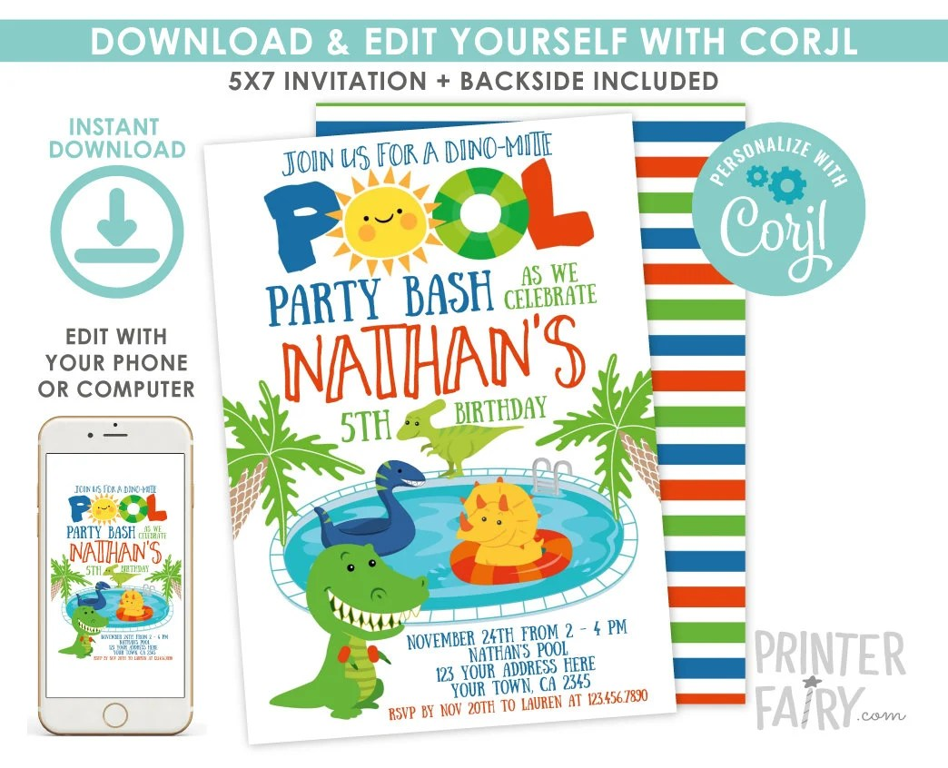 Create your own custom dinosaur birthday party invitations with our invitation maker. Dinosaur Pool Party Invitation Dinosaur Birthday Party T Rex Invitation Dinosaur Invitation Edit Yourself Digital Invitation By Printer Fairy Catch My Party