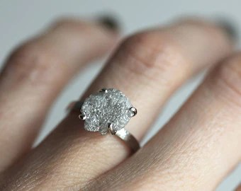 Raw Diamond Ring Etsy