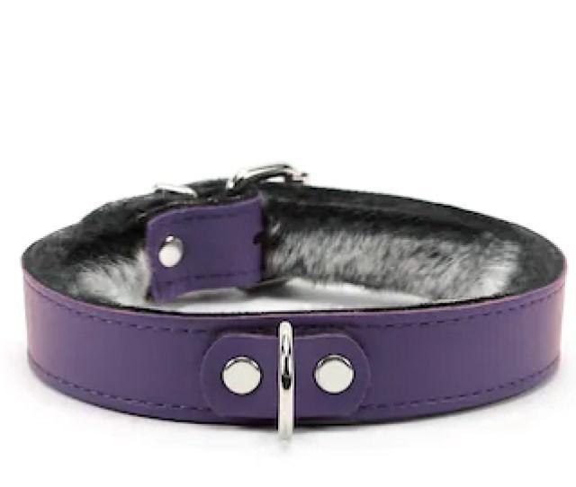 Soft Leather Collar Bdsm Leather Bondage Collar  Purple Stitched Chinchilla Fur Lined Oddo Leather Adjustable Collar Purple Collar