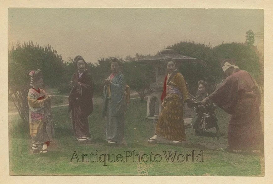 Blindfolded Man Playing Hide And Seek Game Antique Hand Tinted Photo Japan