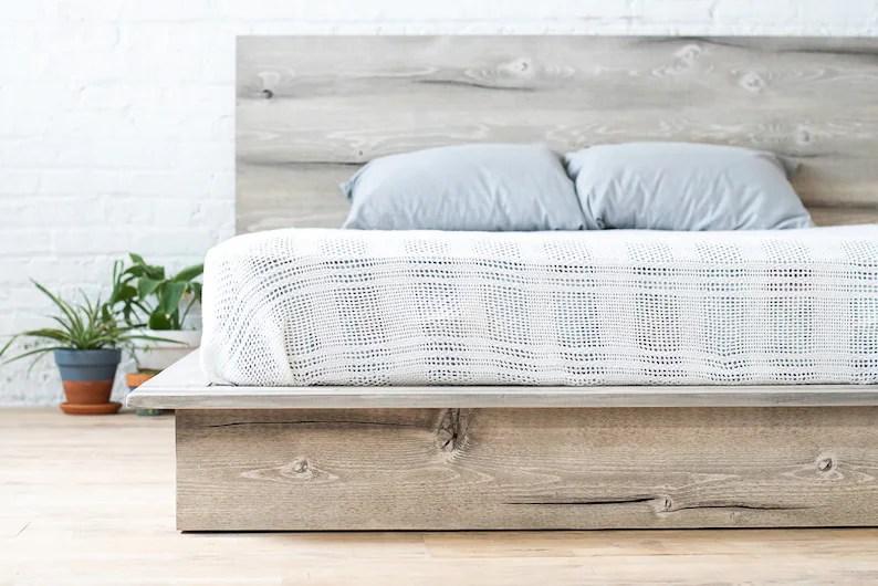 Rustic Modern Platform Bed Frame and Headboard Boho Loft ... on Modern Boho Bed Frame  id=91289