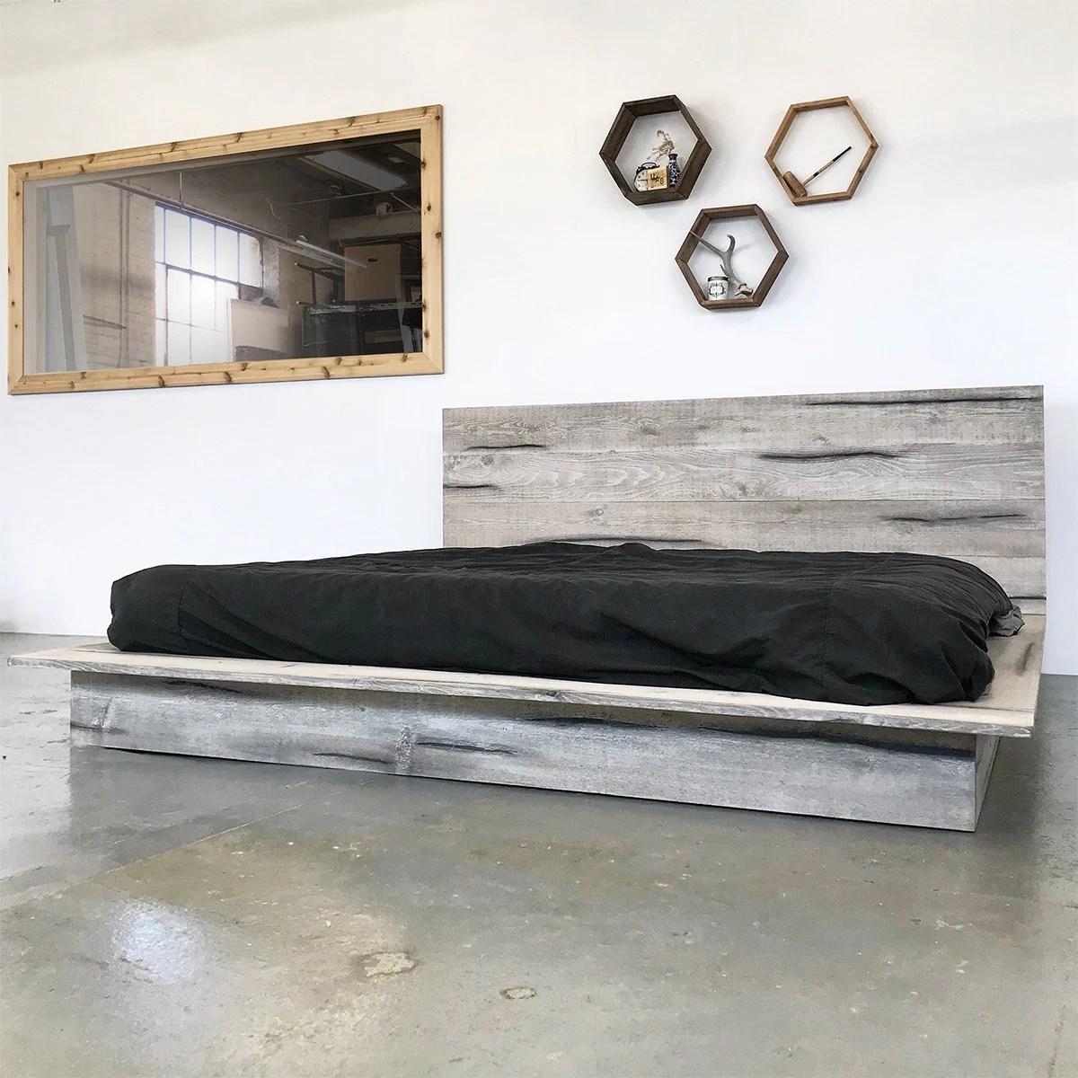 Rustic Modern Platform Bed Frame and Headboard Boho Loft ... on Modern Boho Bed Frame  id=29006