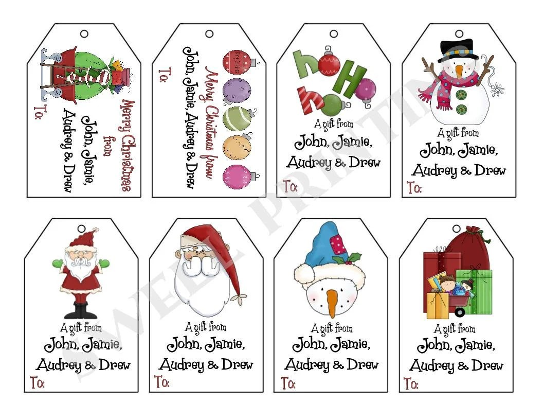 Printable Personalized Christmas Iii T Tag Set Santa