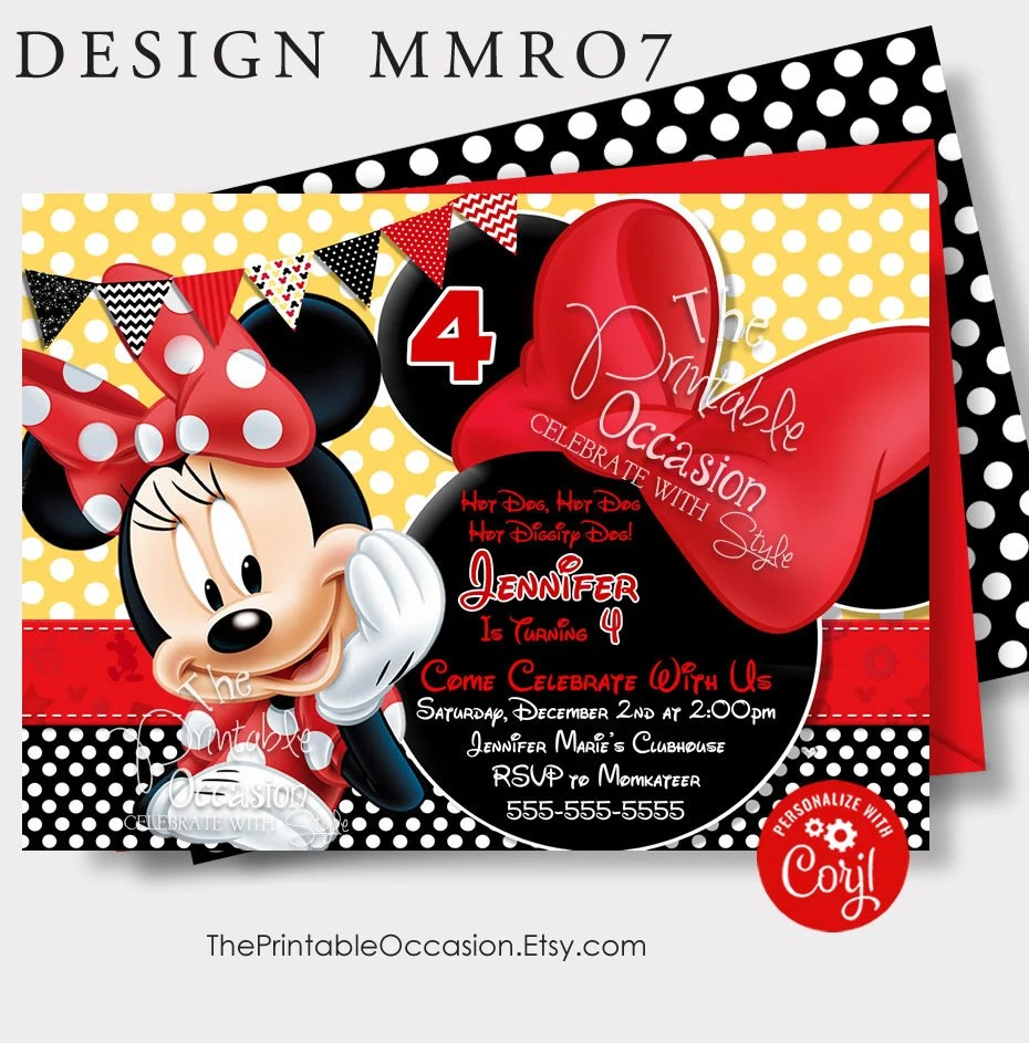 red minnie mouse birthday invitation