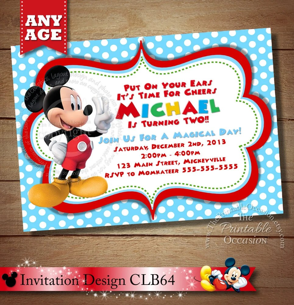 same day svc mickey mouse invitation