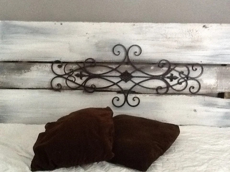 Shabby Chic Wrought Iron Headboard FREE Shipping King