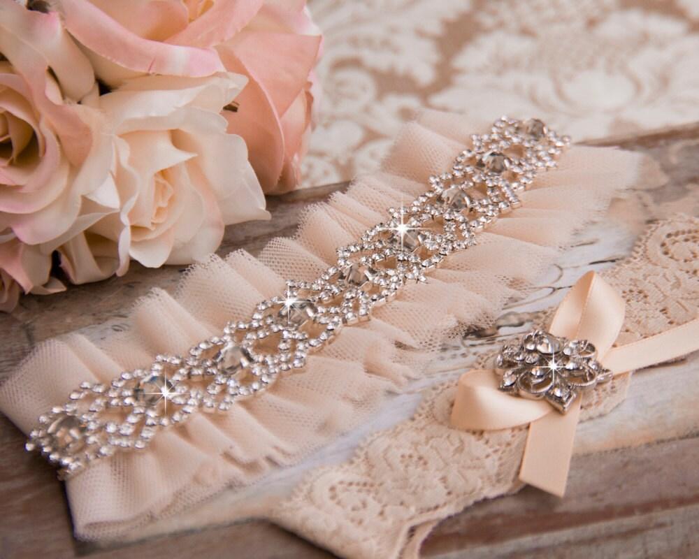 Blush Tulle Wedding Garter Bridal Garter Rhinestone