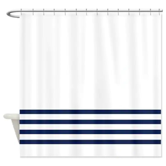 striped shower curtain white with navy blue stripes or customize colors standard extra long sizes custom preppy home decor classy bathroom