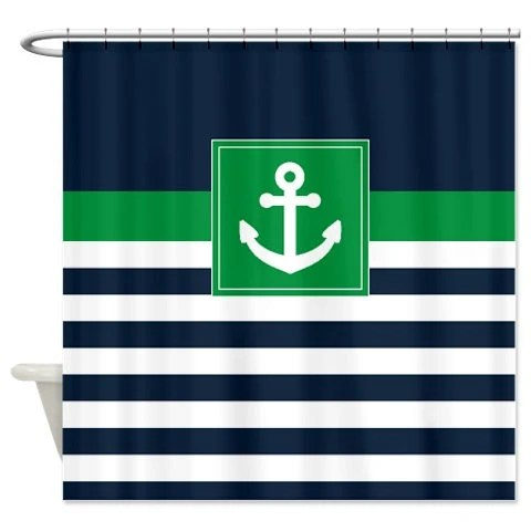 nautical shower curtain navy and white stripes green anchor customize with colors of your choice standard extra long sizes available