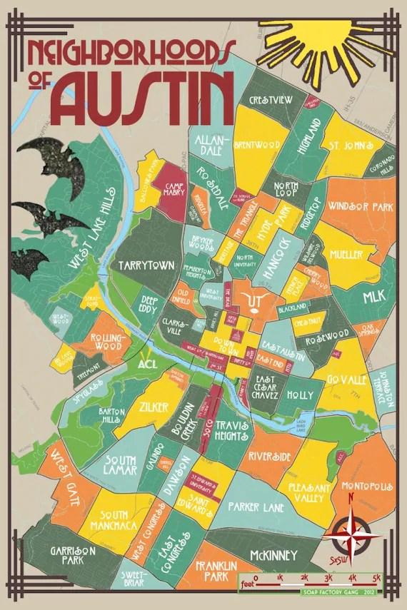 original neighborhoods of austin map austin texas print poster