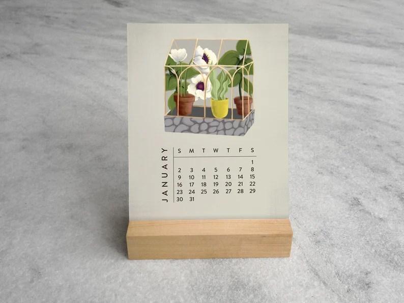 Greenhouse Desk Calendar 2022 2022 Desk Calendar Terrarium image 0