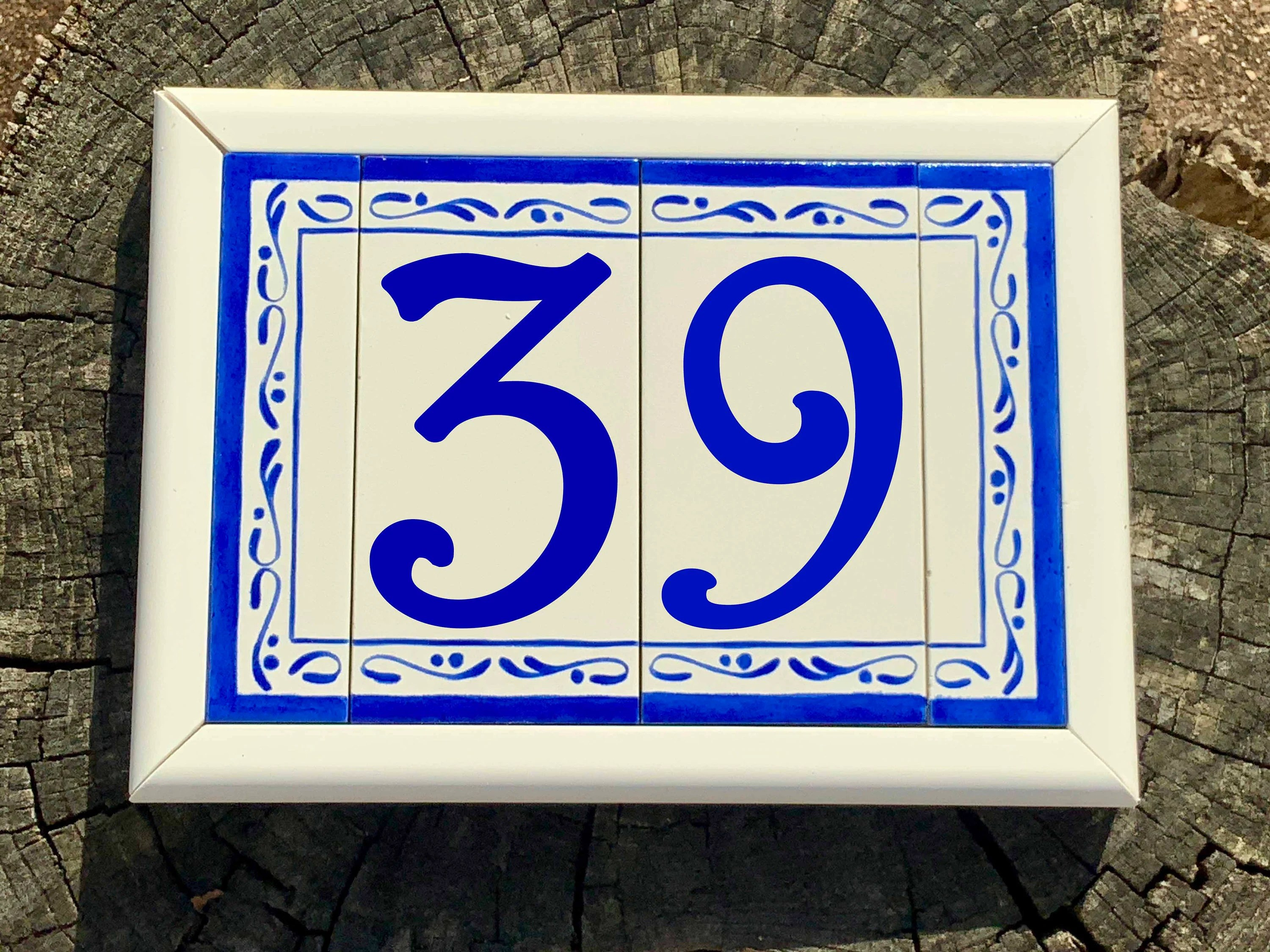 house numbers with frame custom address tiles sign ceramic etsy