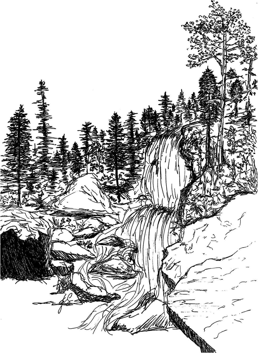Rocky Mountains Waterfall Ink Sketch Art Print 8x10