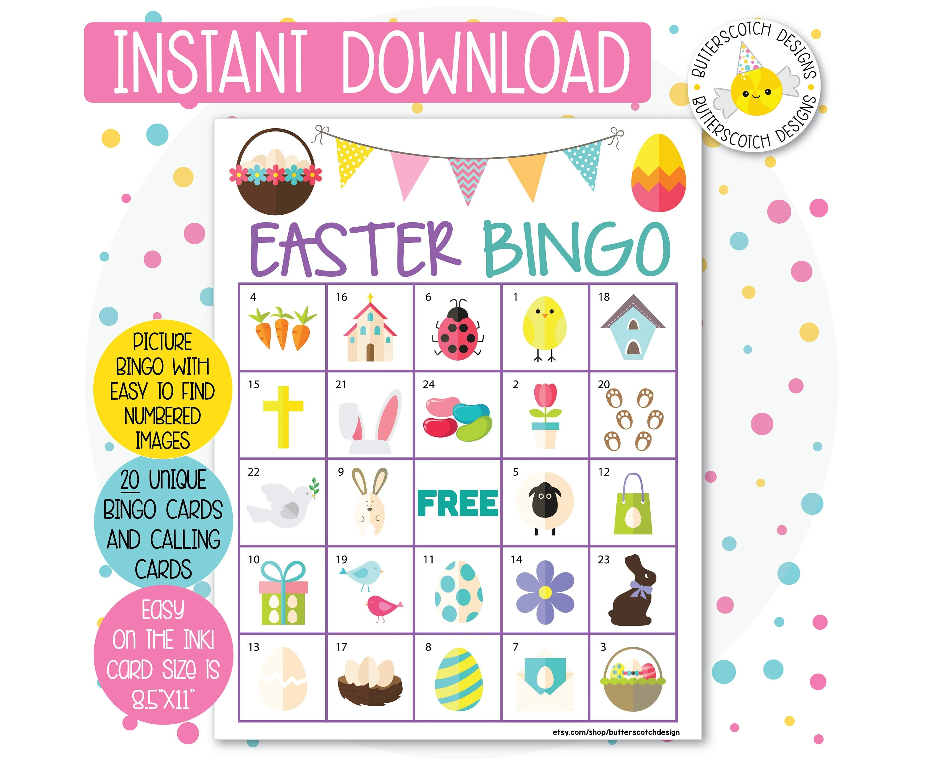 Easter Printable Bingo Cards 20 Different Cards Instant