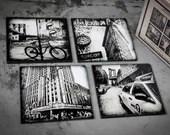 Glass coasters! Set of 4 ...