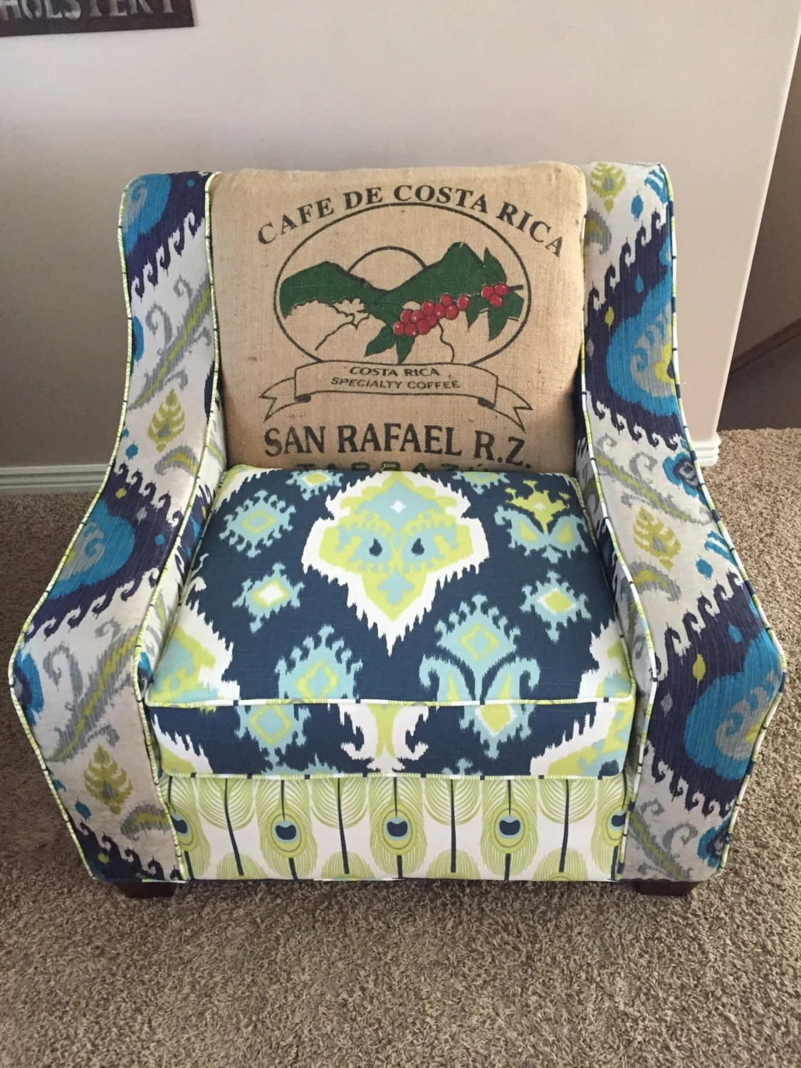 Accent Chair Custom Handmade Oversized Curved Arm Chair Living Room Multi Colored Farmhouse Coffee Jute Sack