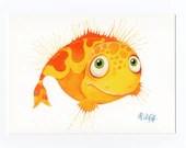 """Postcard """"Fisch"""" yellow"""