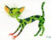 "Postcard ""Green cat"""
