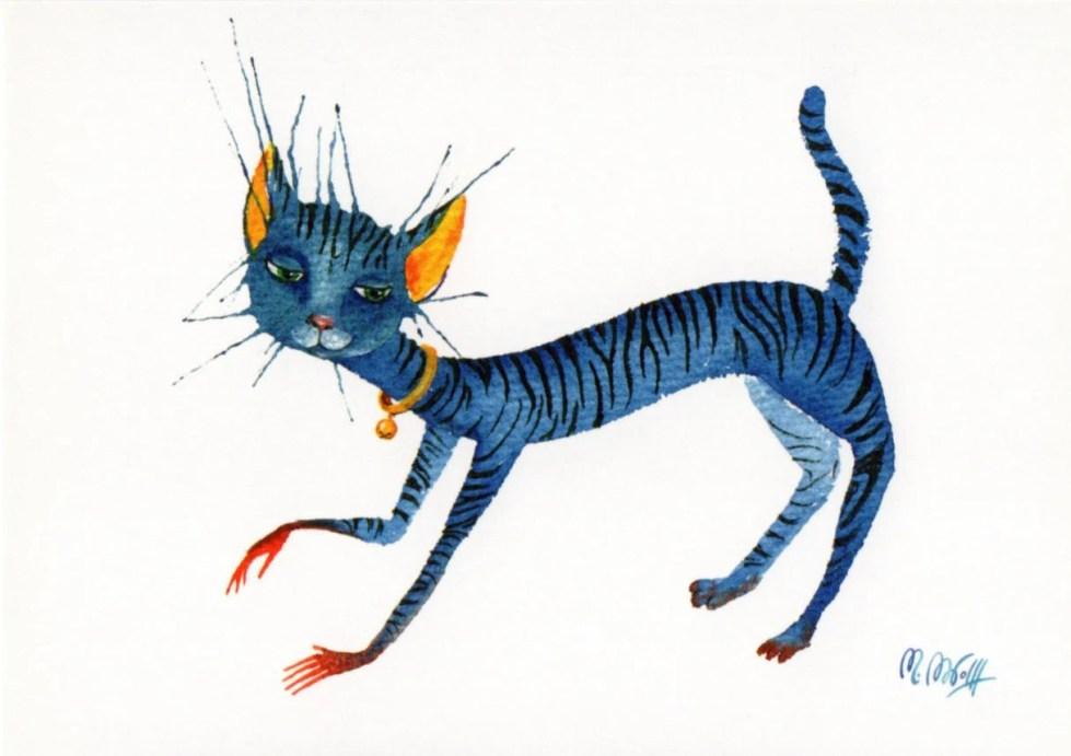 "Postcard ""blue cat&q..."