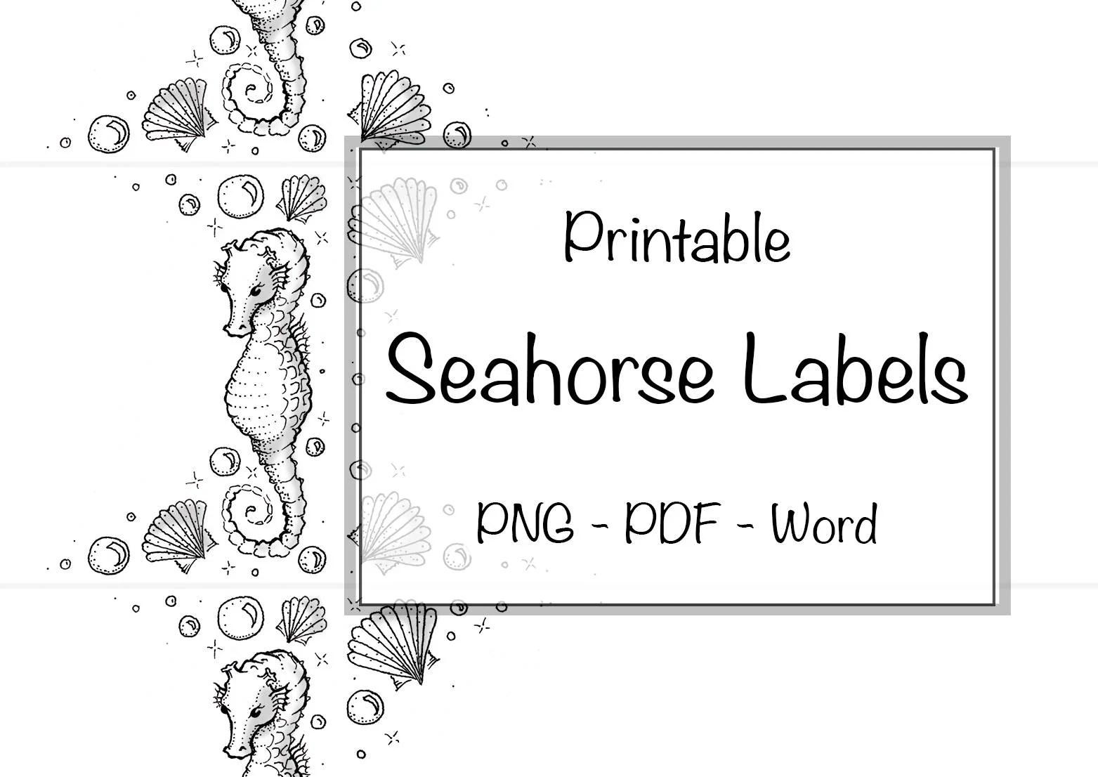 Drawn Seahorse Printable