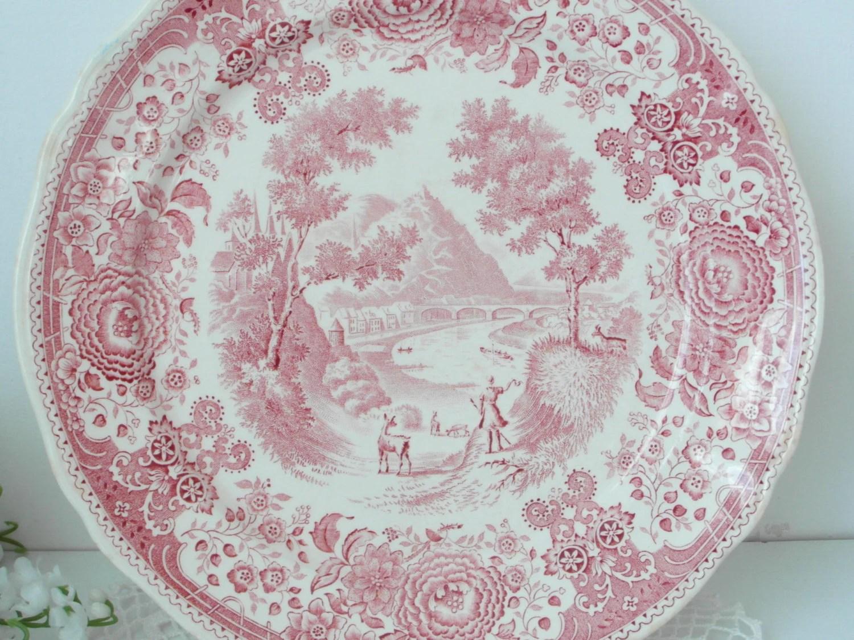 fin de vente antique villeroy boch cellier burgenland rose rouge blanc porcelaine assiettes en porcelaine ancienne impression cuivre