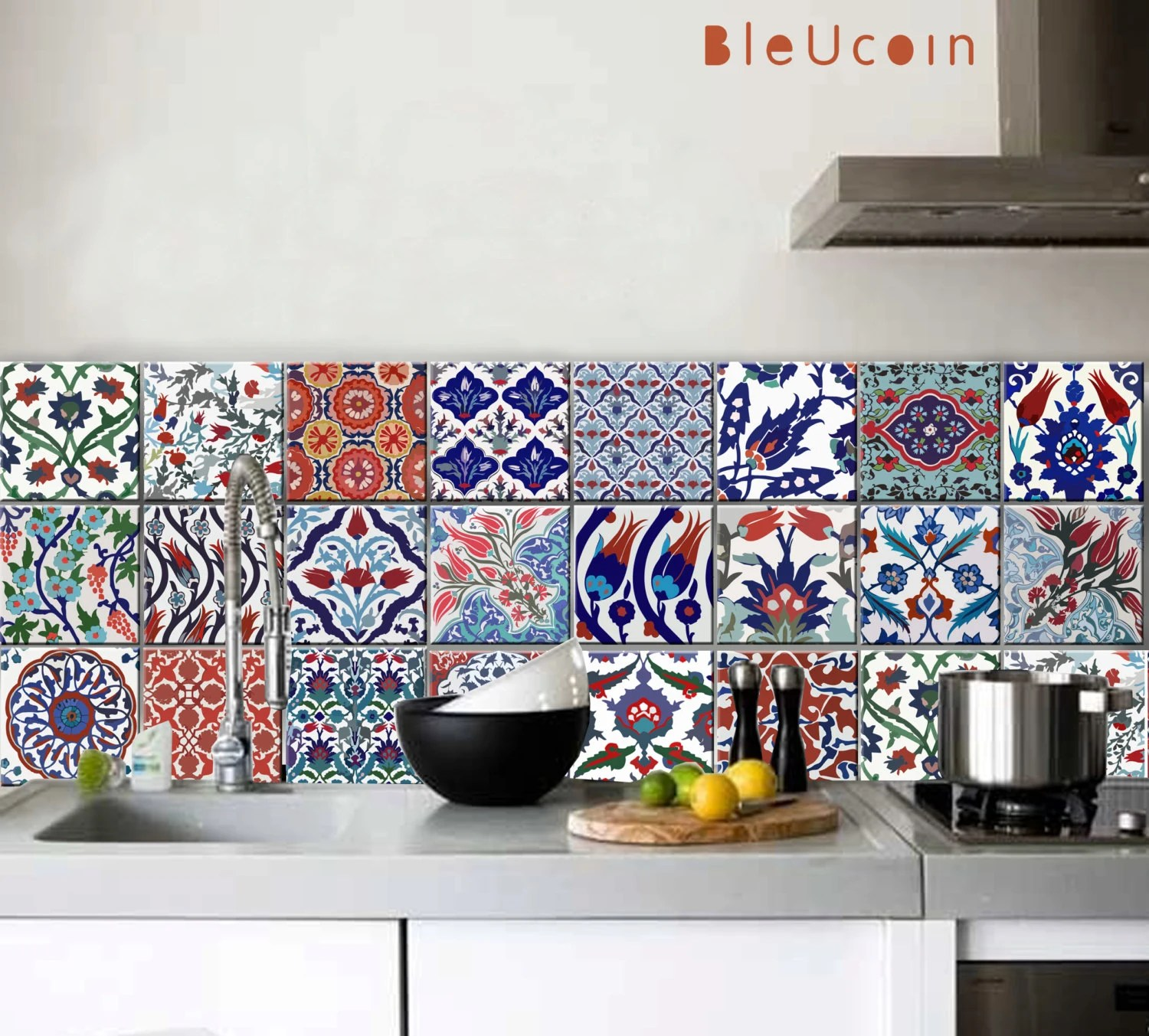 turkish tile wall floor decals for kitchen bathroom stairs door ceiling furniture removable peel and stick application pack of 44