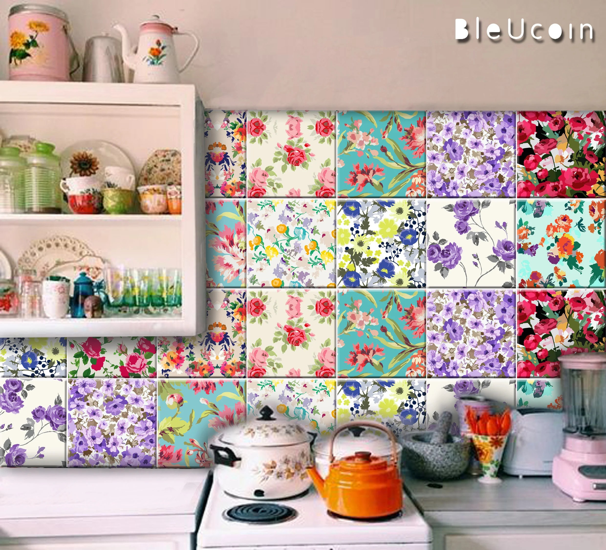 floral tile wall stair riser decal kitchen bathroom etsy