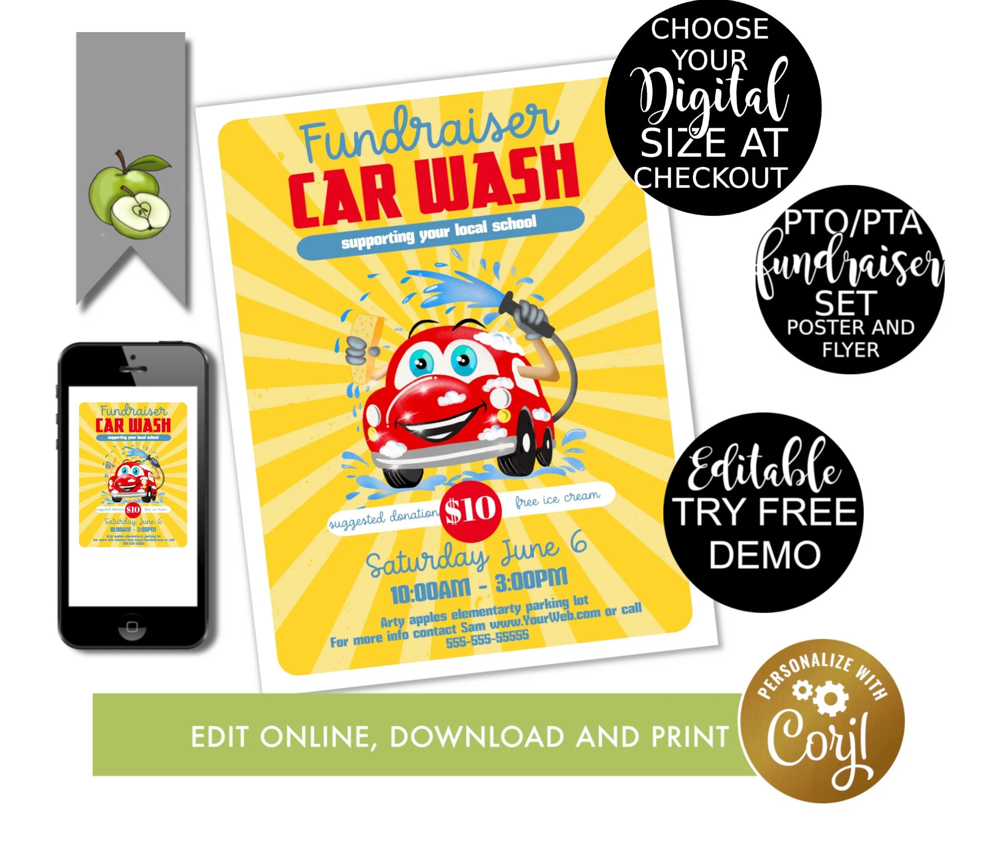 Car Wash Theme Event Flyer Printable Pto Fundraiser Pta
