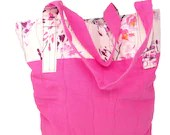 Pink and Floral Tote Bag,...