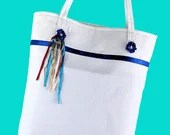 White Tote Bag with Blue ...