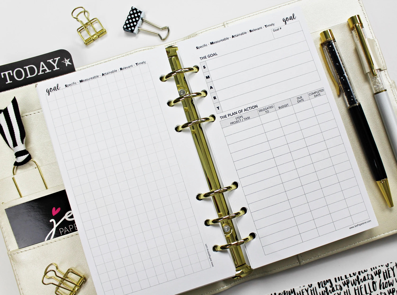 Goals Worksheet Goals Planner Inserts A Variety Of Sizes