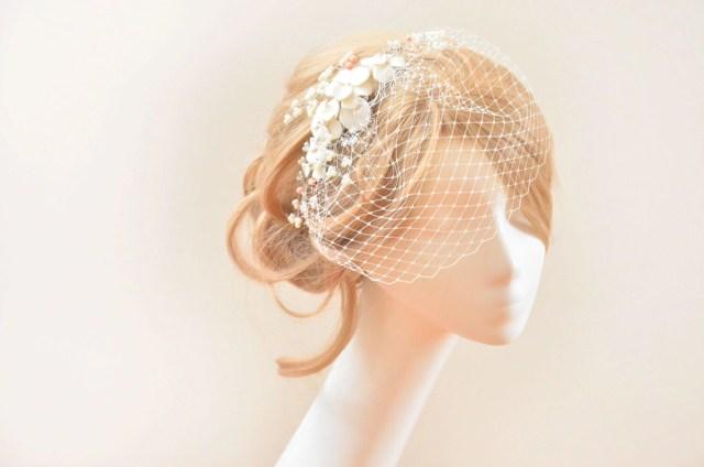 petite birdcage veil with flower headpiece, bridal birdcage veil, flowers with veil, bridal hair clip with veil, birdcage veil headband,
