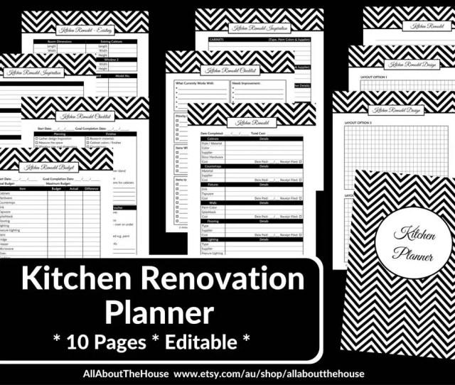 Kitchen Remodel Checklist Planner Printable Renovation Home Improvement Diy Inspiration Budget Layout Editable Template Pdf Instant Download