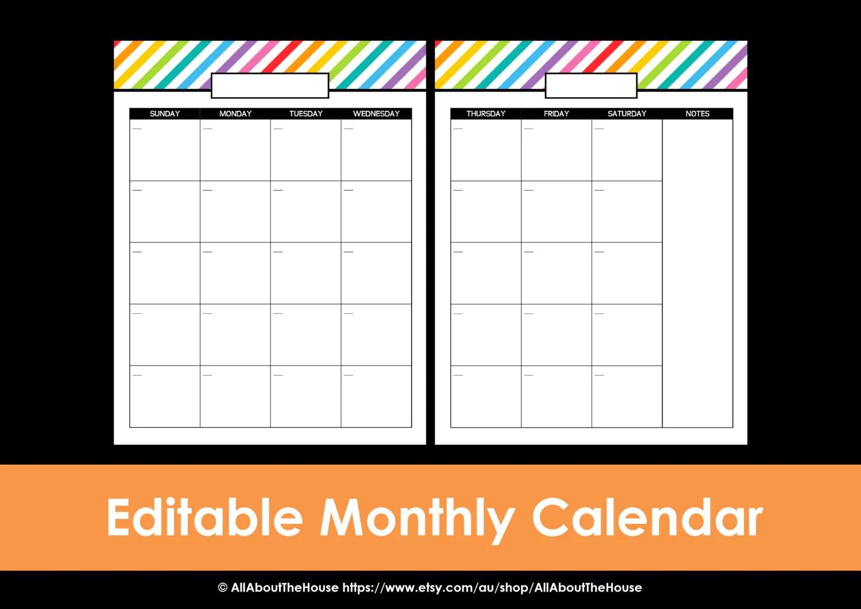Printable Calendar 2 Page Monthly Calendar Printable