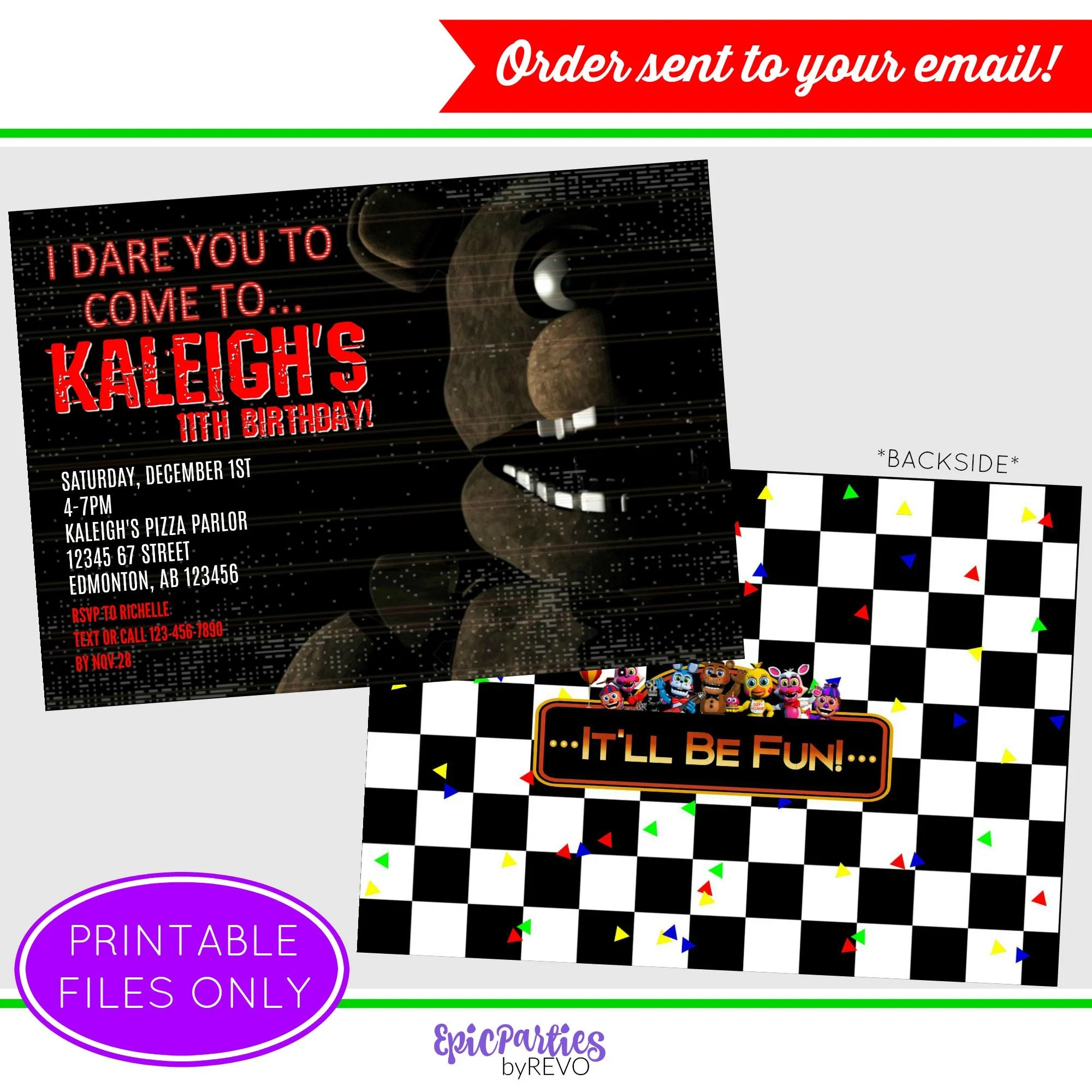 fnaf invitation five nights at freddy s birthday fnaf printable invitation fnaf birthday party decorations epic parties by revo