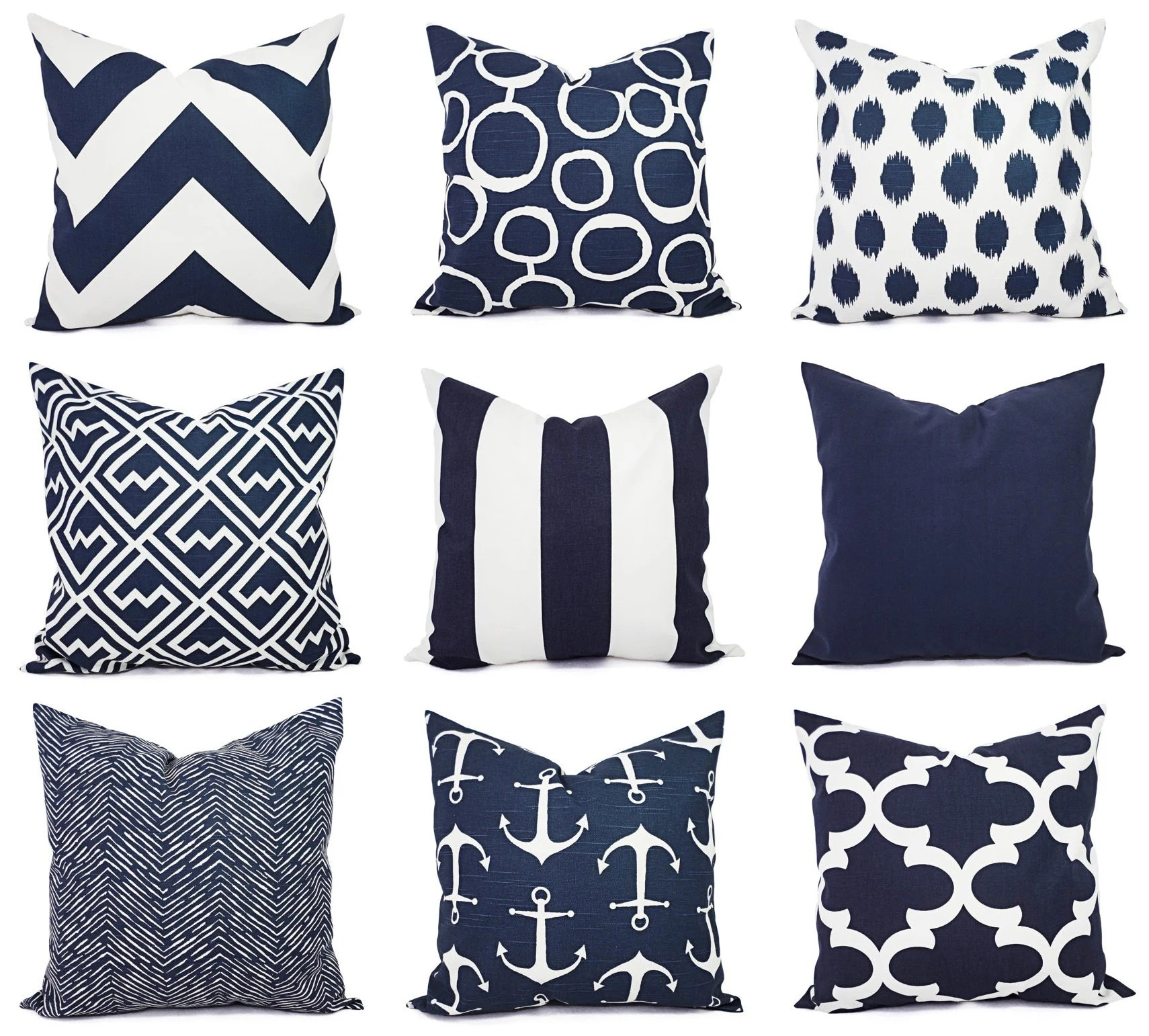 navy pillow covers etsy