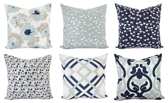 navy blue pillow cover blue and white throw pillow decorative pillow blue euro sham grey pillow blue pillow sham 18 x 18 16 x 16