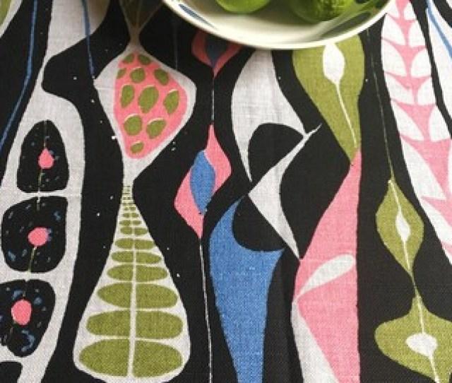 Scandinavian Vintage Fabric Swedish Fabric Abstract Design Stig Lindberg Bulbous 50s Mid Century Modern Fabric Retro Fabric Blue Pink