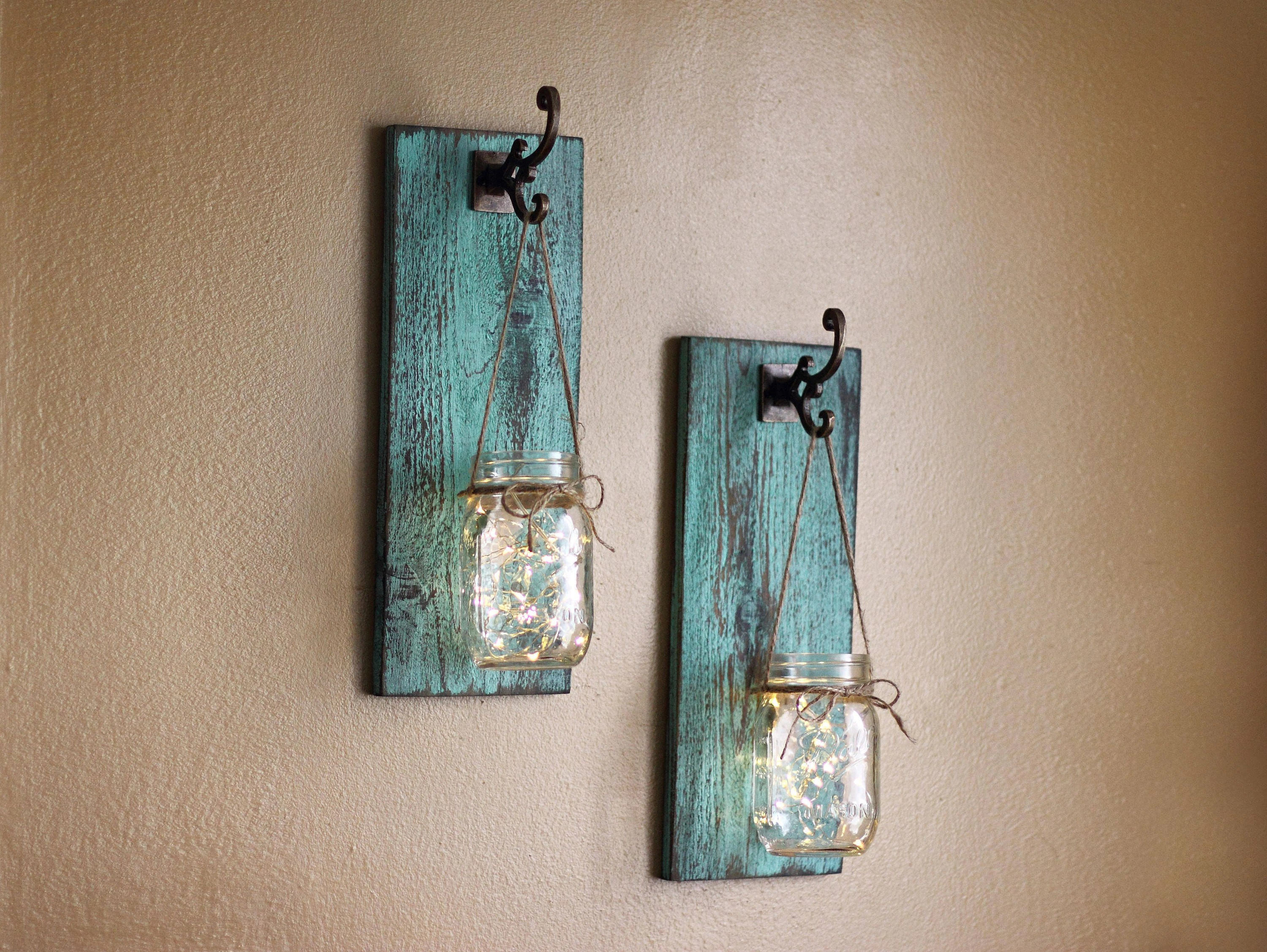 Rustic Wall Decor Mason Jar Wall Sconces Farmhouse Wall on Wood Wall Sconces id=51935