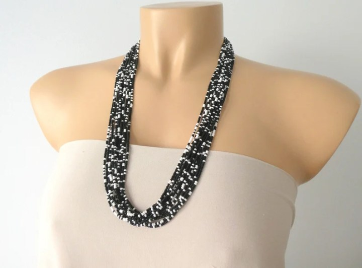 Boho necklace black and white necklace multistrand necklace image 0