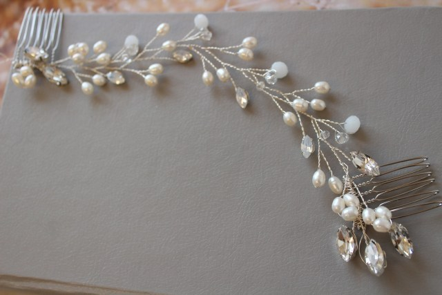 freshwater pearl hair vine, bridal hair comb ,bridal back headpiece, wedding hair piece, silver wedding headpiece wedding hair accessory uk