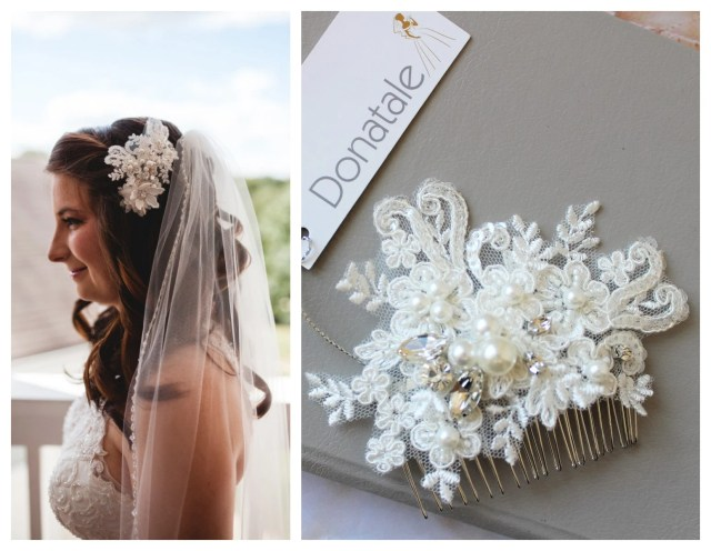 small bridal hair comb, pearl crystal wedding hair comb , bridal hair accessory, hair comb, lace hair comb, wedding hair piece
