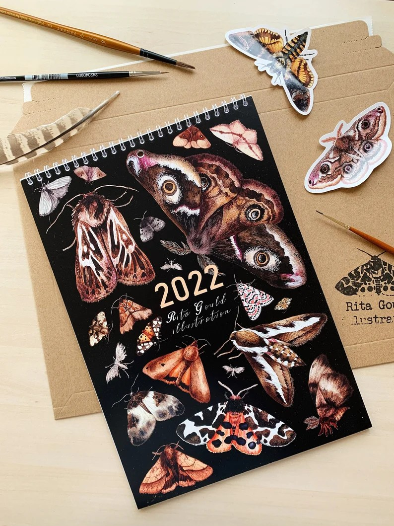 2022 Wall Calendar Moths A4 Calendar 2022 Christmas gift image 0