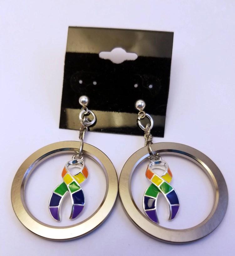 Pride ribbon computer hard drive spindle earrings